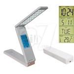چراغ مطالعه تاشو شارژی مدل 850 با 24 لامپ، دارای دکمه دیمر، ساعت، دماسنج، تقویم ماهانه و هفتگی میلادی