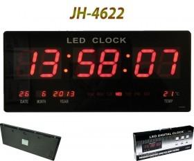 ساعت دیواری بزرگ ال ای دی 45 سانتیمتری مدل 4622 دارای دماسنج و تقویم میلادی
