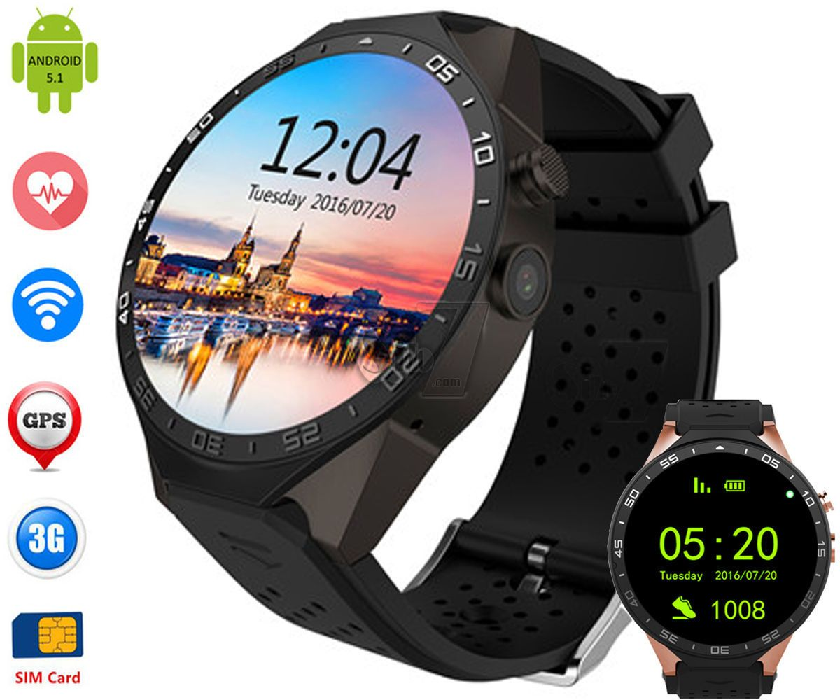 KW88 Android 5 1 3G WiFi 1 39-inch Smart Watch Phone with Bluetooth 4 0,  Heart Rate Monitor, GPS, 2 0MP Camera