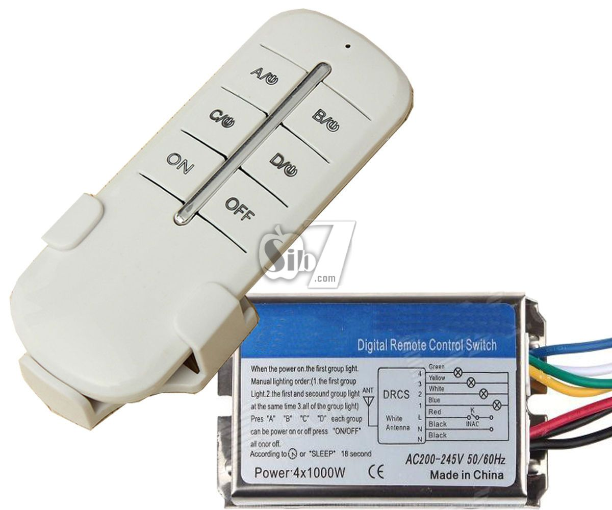 Qh 807 Wireless 4 Channels Remote Control Metal Box Switch With