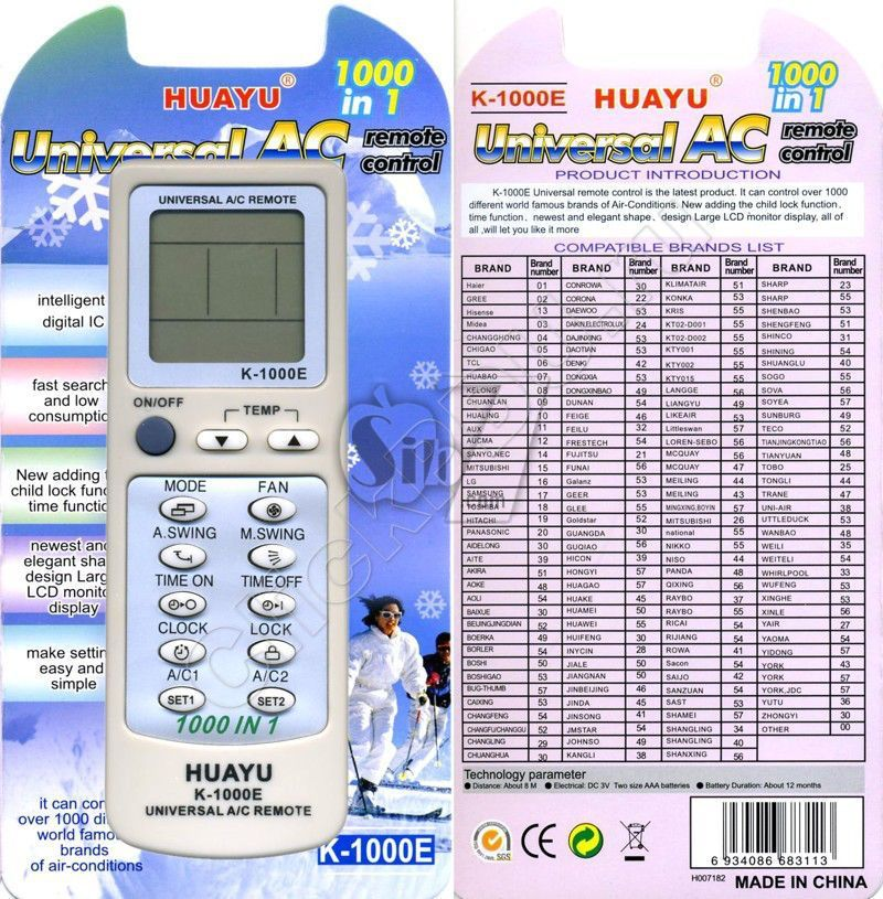 Universal Air Conditioner Remote Controller Huayu K 1000e