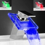 Temperature Detectable Single Handle Chrome Waterfall LED Bathroom Sink Faucet