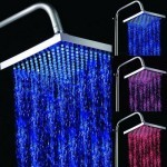 Square Temperature Sensor 3-Color (Blue / Pink / Red) LED Showerhead