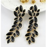 2013 New Coming Elegant Hot Selling Alloy Black Enamel Vivid Leaf Shape Fashion Rhinestone Dangle Earrings