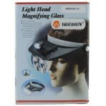 MG81001-A Light Head Magnifying Glass with 2 LED 1.2x 1.8x 2.5x 3.5x