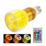 3W RGB Crystal 16 color E27 LED light and Mushroom shape glass bulb with Remote Control