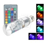 Cylinder shaped 3W RGB Crystal 16 color E27 LED glass bulb light with IR Remote Control