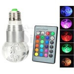Glass Bulb shaped 3W RGB Crystal 16 color E27 LED light with IR Remote Control