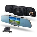 آینه ماشین با مانیتور 5 اینچ فول اچ دی دارای 2 دوربین پشت آینه و دوربین دنده عقب با قابلیت ضبط تصاویر