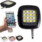 فلش دوربین شارژی آیبلازر ال ای دی 16 لامپی قوی مخصوص موبایل های آیفون و آندروید