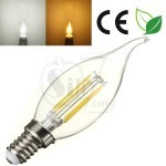 4W Transparent glass LED Filament Candle shape Bulb Light , New Technology and Wide Beam Angle