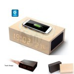 W2 Wooden LED Alarm Clock and Thermometer  with Bluetooth Speaker and Qi Wireless Charger