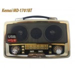 Kemai MD-1701BT Wooden Classic 3Band Radio and Bluetooth USB SD MP3Player