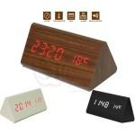 ساعت چوبی ال ای دی طرح استوانه مثلثی سه گوشه دارای سنسور صدا و دماسنج