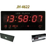 JH-4622 Large Digital Wall LED Clock, size 45 cm with calendar and Thermometer Display