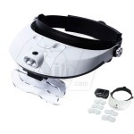 MG81001-G 2way 2 LED Light Head Band Wearable Magnifying and GLASS Magnifier Head cap