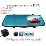 Car Rear View Mirror with Large Screen 4.5 inch Display and Full HD 1080P Dual lens Car Camera