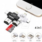 4 in 1 TF SD Card Reader For iOS, Android, Type C and USB
