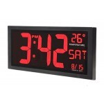 Large Digital Bright, Bold and High Contrast LED Wall Clock with Indoor Temperature, Date