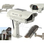 Solar Powered Bullet Dummy Fake Surveillance Security Camera with Realistic Simulated LED Warning Security Alert