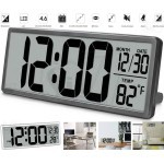 Extra Large LCD Battery Operated Digital Desk and Wall Clock with Temperature, Calendar, Snooze, Backup Battery