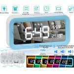 Multifunctional Digital Alarm Clock with 6 Color Night Light, Nature Sounds, Temperature, USB Port