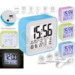 528 Rechargeable Digital Alarm Clock with Calendar, Touch Sensor, Backlight, Temperature and Workday Mode