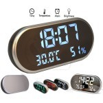 LED High Definition Mirror Alarm Clock Temp Humidity Sensor