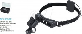 9892E Headband Lighting Magnifier 1 LED Double Eye 8 Lens 1-28X Magnifying Glasses Loupe