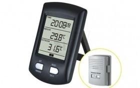 دماسنج و رطوبت سنج دو تکه بیسیم 0100، نمایش دمای داخل و رطوبت و دمای سنسور وایرلس