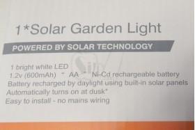 چراغ خورشیدی باغچه ای تزیینی بدنه فلزی استیل 49 سانتیمتری مدل 279