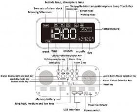 ساعت دیجیتالی طرح کاسیو مدل 906 دارای فریم چراغ خواب رنگارنگ، دیمر، آلارم، دماسنج، خروجی یواس بی