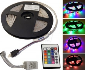 SMD3528 60LEDs/m 5 meter Full Pack RGB LED Strip with remote control