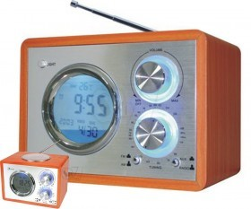 رادیو چوبی 2 موج مدل 718 دارای ساعت و دماسنج دیجیتالی و ورودی صدا