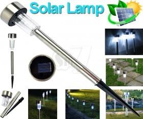 چراغ خورشیدی تزئینی باغچه ای کوچک بدنه استیل 37 سانتیمتری مدل 156
