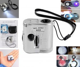NO.9592 Mini Microscope LED Pocket 60X Loupes Magnifier with UV Currency Detector and Flashlight