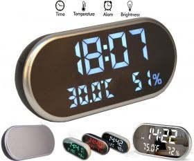 LED High Definition Mirror Alarm Clock Temp Humidity Sensor