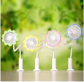 فن و پنکه شارژی گیره دار طرح گل آفتابگردان