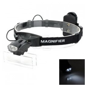 9892G Headband Lighting Magnifier 2 LED Double Eye 5 Lens 1-6X Magnifying Glasses Loupe