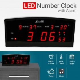 ساعت دیجیتالی بزرگ جینیو دارای دماسنج و تقویم و 12 حافظه یادآور تولد و 8 گروه آلارم بیدارباش مدل 3-1024