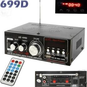 آمپلی فایر دوکاناله مدل 699، دارای صفحه نمایش، رادیو، ریموت کنترل،  پخش موسیقی از فلش مموری و کارت حافظه، ورودی برق 12 و 220 ولت