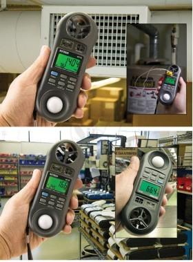 مولتی فانکشن مدل ال ام-9000 لوترون دارای سرعت سنج باد، فشارسنج، دماسنج، رطوبت سنج، لوکس متر، فلومتر